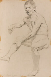 Jack Green - 1918 Graphite Drawing, Seated Nude Man