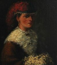 Elegant gekleidete Frau mit Muff - alte Gemälde Miniatur auf Holz