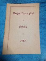 1951 Badger Kennel Club Dog Show Catalog Program Vintage Original
