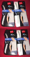 Lot of 4 Hanes White & Black Lay Flat Collar Men's X-Temp XL Free Shipping