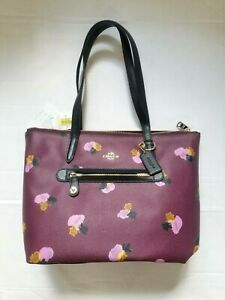 NWT Coach Taylor In Print 37226 LIEYA Plum Floral Leather Tote with gift receipt