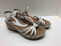 Clarks Artisan Womens Size 6.5 White Leather Ankle Strap Sandals Wedge Heels