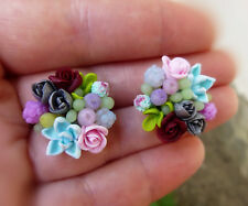 Succulent Flower EARRINGS HANDCRAFTED Fashion Wedding cute polymer clay HANDMADE