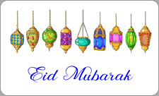21 x EID MUBARAK LANTERNS STICKERS ISLAM MUSLIM DINNER PARTY LABELS CELEBRATION