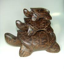 set 3 pcs. Hand Carved Wood Turtle Auspicious animals Turtles