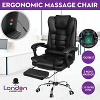 Massage Office Chair Gaming Computer Desk Chairs w/ Footrest Recliner Leather UK