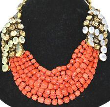 IRADJ Moini Necklace Coral Quartz Chalcedony Gems Orange Blue Green Statement
