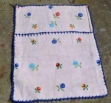 Oatmeal hemp storage bag - farm textile/ Romanian hand woven wall hanging