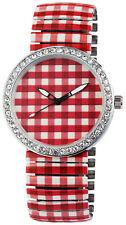 Damenuhr mit Rot Weiß Muster Kariert Uhr Strass Steine Armbanduhr mit Zugband