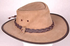 B.C. Hats Leather Cowboy Hat-Braided Band-S-6 5/8-Western-Vented-Brown-Steerhide