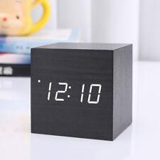 Modern Wooden Wood Digital LED Desk Alarm Clock Thermometer Timer Calendar FJNO