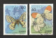 JAPAN 1987 INSECTS SERIES BUTTERFLIES CP7 BOOKLET PANE COMP. SET 2 STAMPS USED
