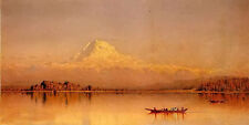 Oil painting sanford robinson gifford - mount rainier, bay of tacoma landscape @