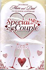 Ruby Aniversario Tarjeta Para Mamá Y Papá. especial Para Mamá Y Papá pareja especial.