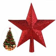 Christmas Tree Topper Red Glitter Mini Star Decoration