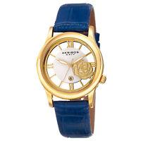 New Women's Akribos XXIV AK837BU Quartz Date Floral Dial Blue Leather Watch
