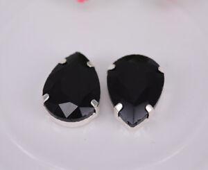 100 pcs Sew On Settings Colour Crystal Glass Rhinestone Teardrop Jewels Button