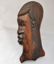 """Vintage African wooden mask Tribal wood carving 13"""" flat wall hanging plaque"""
