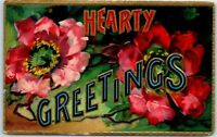"Vintage ""HEARTY GREETINGS"" Large Letter Embossed Postcard Colorful Flowers 1909"