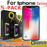 5Pcs For iPhone 11 Pro X XS MAX XR 8 7 6 + Screen Protector Tempered Glass Cover