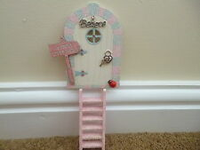 PINK SILVER & CREAM GLITTER EDGE FAIRY DOOR + FAIRY SIGN & PINK FAIRY LADDER