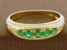R078 Genuine 9ct Yellow Gold NATURAL Emerald Etched ETERNITY Band Ring size N