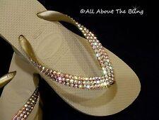 Havaianas  flip flops sandals Khaki Beige with IRIDESCENT AB Swarovski Crystals