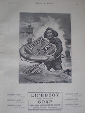 Lever Bros Lifebuoy Soap coastguard saves soap old art advert 1903