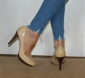 M&S Ladies Court Shoes 5.5 Nude Real Leather Stiletto High Heel Sexy Party Worn