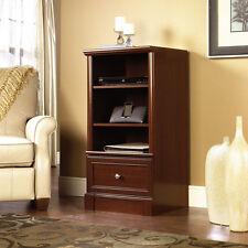 Audio Media Tower Cherry Wood Stereo Rack Storage Adjustable Shelves Cabinet NEW