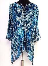 Catherines 5X Accordion Blouse Pleated Blue Splash Beaded Top Dramatic Flair