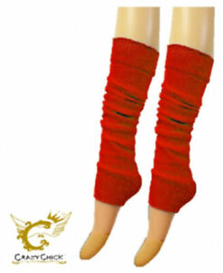 Unique Ladies Womens Crazy Chick Neon Footless Leg Warmers Fancy Dress Party