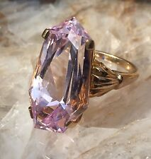 14 Karat Yellow Gold Fancy Cut Pink Kuntize Solitaire Engagement Ring #1504