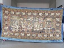 "AntiqueThai elephantand zodiac tapestery big size 110""x60"" multicolor good condt"