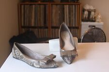 Delman Brown Snake Print Leather Patent Leather Bow Ballet Flats Women's Size 6