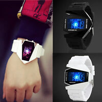 Men's white & Black Stainless Steel Luxury Sport Digital LED Wrist DIAL Watch