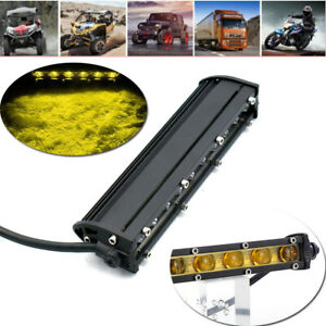 7'' Yellow LED 6D Work Fog Light Bar Spot SUV Boat Driving Lamp W/ Mount Bracket