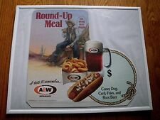 1991 A & W Root Beer  Menu Cardboard  Sign Round-UP meal