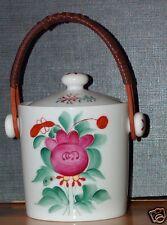 Porzellandose mit Henkel Bast     Dekor Ostfriesland  Rose  Friesenrose