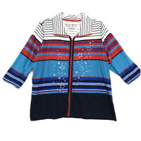 Onque Woman 3/4 Sleeve Zip Up Track Jacket Sz 3X Embellished Striped Multicolor