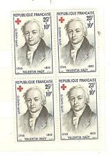 YVERT N° 1227 BLOC DE 4 VALENTIN HAUY CROIX ROUGE TIMBRES FRANCE NEUFS **