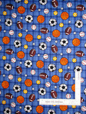 Sport Ball Soccer Football Basketball Golf Blue Plaid Cotton Fabric By The Yard