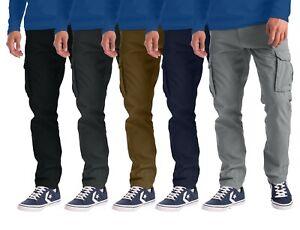 Mens Cargo Combat Work Trouser 6 Pockets Cotton Full Pant
