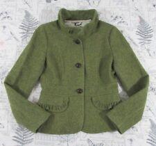 EUC J Crew 100% Wool Green Tweed Ruffle Collar Pockets Blazer Jacket lined Sz 0