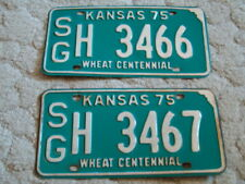 ANTIQUE 1975 KANSAS WHEAT CENTENNIAL LICENSE TAGS/PLATES CONSECUTIVE #3466, 3467
