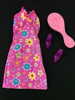 Cute Genuine Tagged Barbie Doll Purple Flower Dress with High Heels and Brush