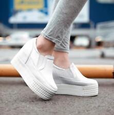 Womens Creepers Sneakers Hidden Wedge Heel Platform Leisure Slip On Shoes AU New