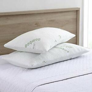 Amrapur Overseas Bamboo Memory Foam Pillow (2 Pack), Queen, White, 2 Piece
