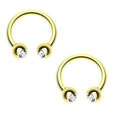 2 PC 16G Gold Titanium Clear CZ Horseshoe Barbell Gem Ear Lip Septum Nipple Ring