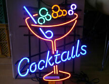 "New Cocktails Martini Neon Light Sign 24""x20"" Lamp Poster Real Glass Beer Bar"